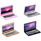 4 Pack Dollhouse Mini Laptop Scene Miniatures Computer Simulation Notebook Lap Top Lovely Folding Laptop Model for Doll DIY 1