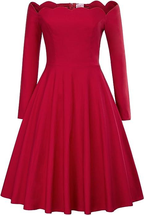 TALLA S. Belle Poque Vestido para Mujer Retro de la Vendimia de los Años 1950 Plisada Vestido del Hombro 126