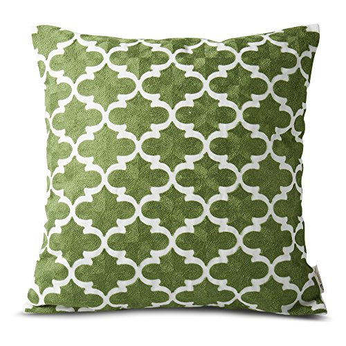 Plain Jane Embroidery Decorative Abstract Lattern Throw Pillow Cases 100% Cotton 1pc Sofa Pillows Cushion Covers for Bed 18inchx18inch Green (Replacement Pillows For Sofa)