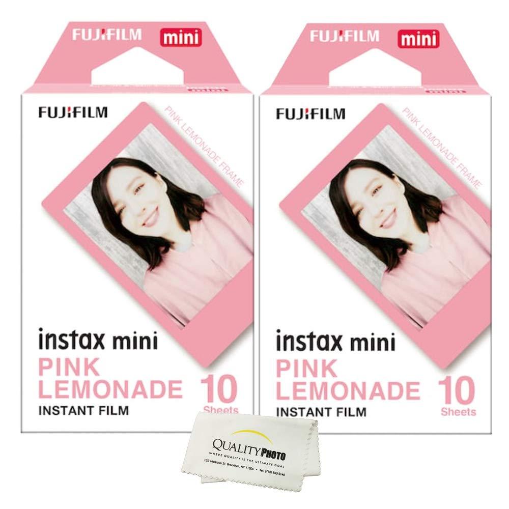 Fujifilm Instax Mini 8 and Mini 9 Pink Lemonade Film 2 Pack (20 Exposures) + Quality Photo Microfiber Cloth ... by Fujifilm