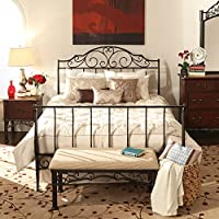 iNSPIRE Q Camelia Graceful Scroll Bronze Iron Sleigh Bed by Classic Full