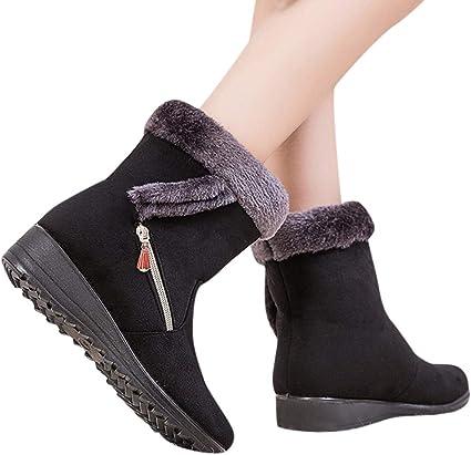 Coussin-Pied et Talon Compensé Chaud Bottes Mi-Mollet Confortable Respirant Cheville Plat Chaussures