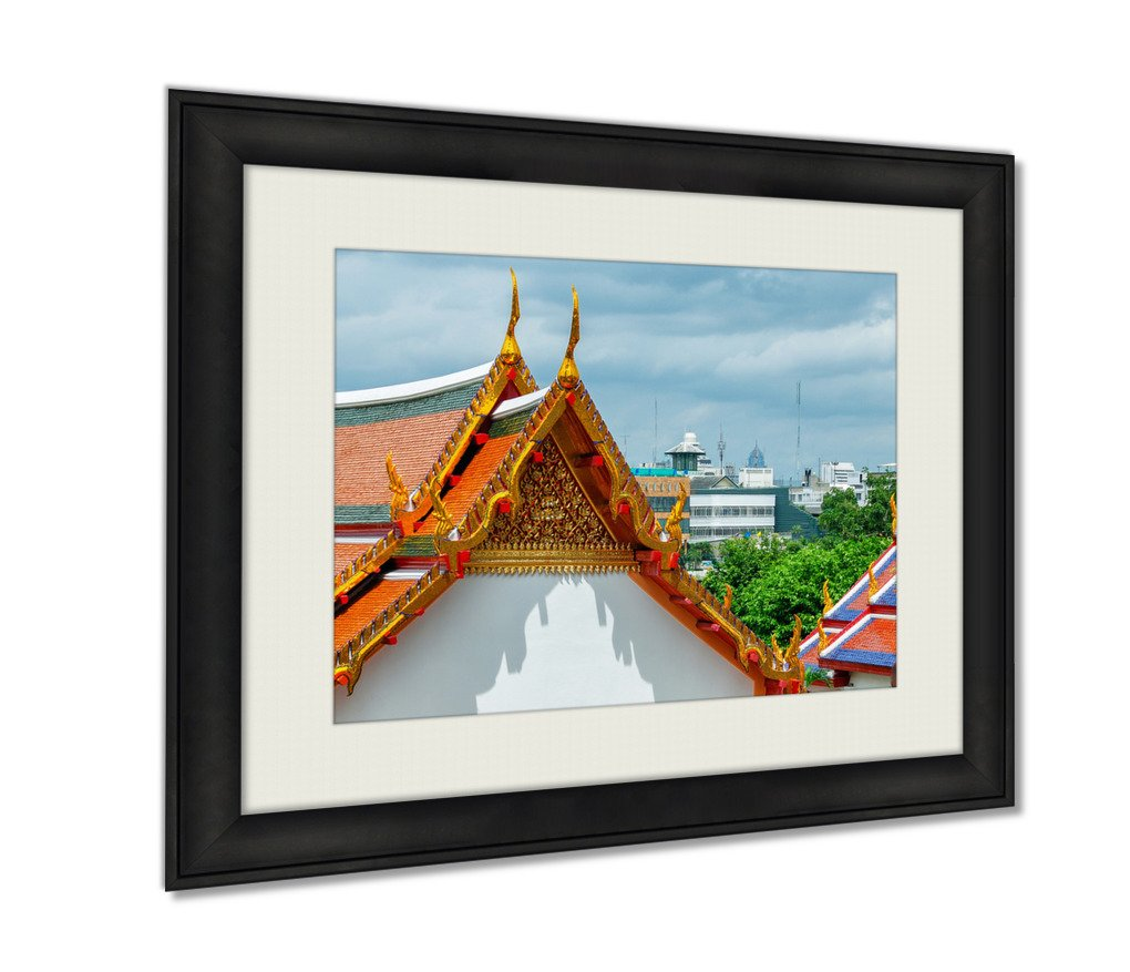 Ashley Framed Prints, Temple Architecture Bangkok Thailand Wall Art Decor Giclee Photo Print In Black Wood Frame, Soft White Matte, Ready to hang, 24x30 Art