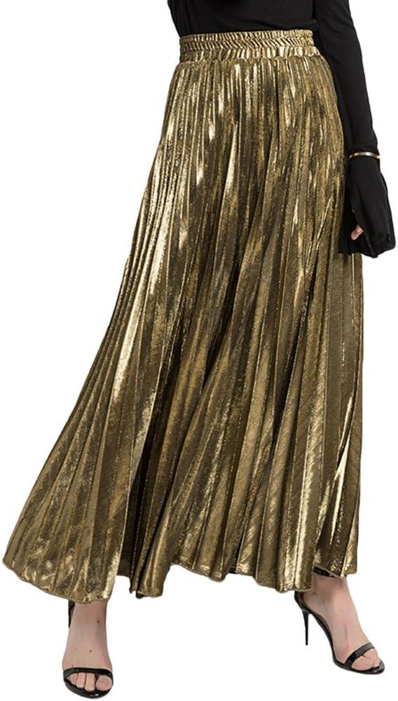 ZKOOO Velvet Maxi Falda Mujeres Verano Plisada Vintage Larga Falda ...