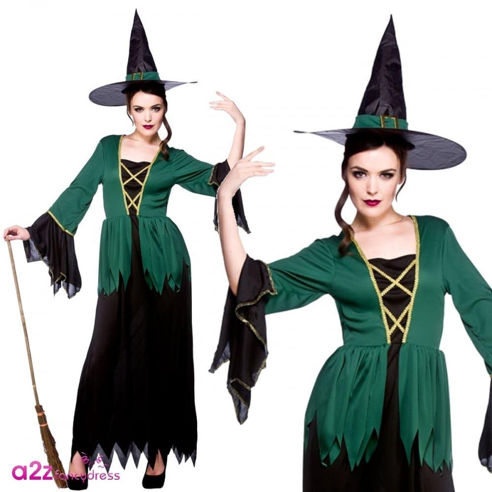 Wicked Witch Green Eyemask Ladies Halloween Fancy Dress Accessory