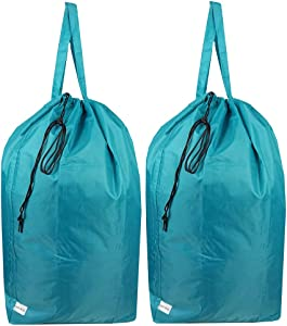 UniLiGis Tear Proof Nylon Laundry Bag with Handles (2 Pack),Travel Laundry Bag with Drawstring Closure,Dirty Clothes Bag Fit Most Laundry Hamper or Basket,27.5x34.5 in,Blue Aqua