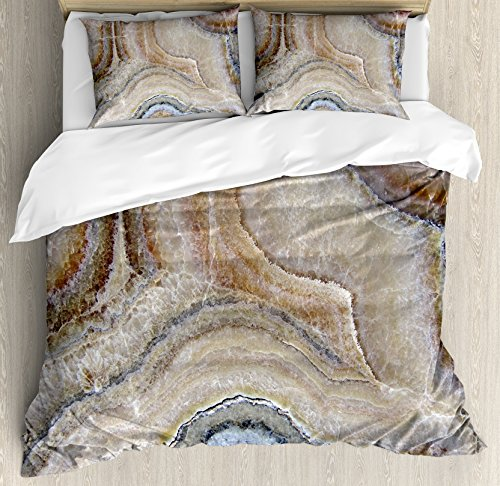 Ambesonne Marble Queen Size Duvet Cover Set, Surreal Onyx Stone Surface Pattern Pale Blue Details Artistic Picture, Decorative 3 Piece Bedding Set with 2 Pillow Shams, Cinnamon Grey