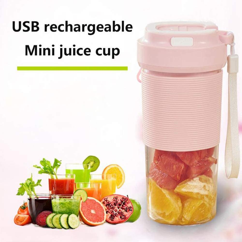 Li-HIM Mini frullatore Portatile/Cordless Mini frullatore Personale, USB Ricaricabile Juicer Cup 10oz Mixer, per Ufficio Viaggi,Blu Pink