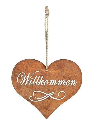Levandeo Schild Herz Willkommen Rost 10 5x9cm Edelrost Garten Deko