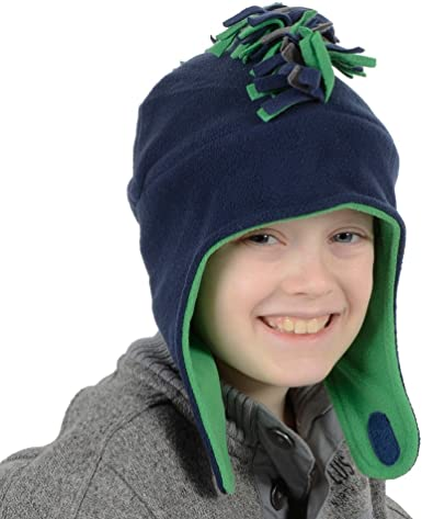 Boys Mohican Style Warm Fleece Trapper Hat Black /& Red Or Navy /& Green 54cm//56cm