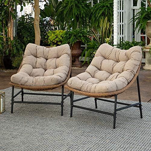 Walker Edison Estrella Modern 2 Piece Rattan Scoop Chair Set