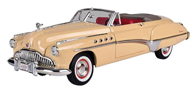Motormax 1:18 1949 Buick Roadmaster Diecast Car (Timeless Classics Collection) Mounted On A Plastic Stand and with The Name Lable (Cream) Toy Cars & Trucks at amazon
