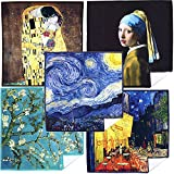 Extra Large [5 Pack] World Best Classic Art Collection - Ultra Premium Quality Clean & Clear Microfiber Cleaning Cloths (Best for Camera Lens, Glasses, Screens, and All Lens.)