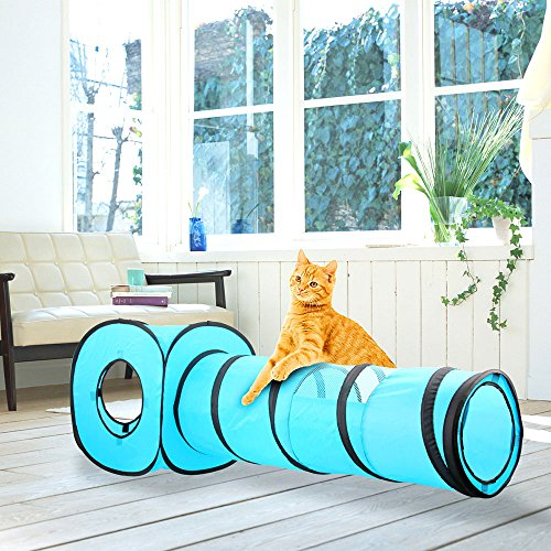 PAWISE Cat Toys Cat Tunnel and Cat Cube Pop Up Collapsible Kitten Indoor Outdoor Toys (Tunnel Cube)