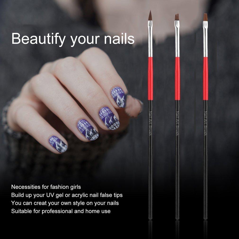 Juego de 3 pinceles de gel acrílico UV, diseño de arte de uñas, herramienta para pintar: Amazon.es: Belleza