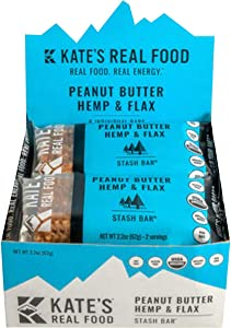 Kate's Real Food Stash Bars - 6-Pack Peanut Butter, Hemp & Flax, One Size