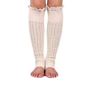 f3370f5b18081 Spring Fever Crochet Lace Trim Cotton Knit Leg Warmers Boot Socks, Beige
