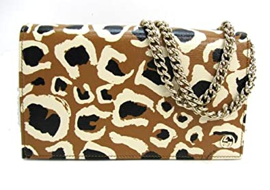 2a9da6234319 Image Unavailable. Image not available for. Color: Gucci Leopard Print Leather  Chain Cross Body Clutch Bag 354697