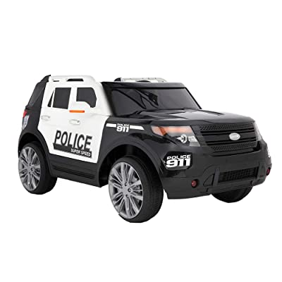VALUE BOX Kids Police Ride-On SUV w/ 2.4G Remote Control, 12V Kids Battery Powered Truck SUV Ride-On Car Off-Road Toy Car w/ 2 Speeds, LED Lights, MP3, Horn, Safe Seat Belts, AUX Cord - Black & White: Toys & Games
