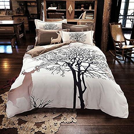 Amazon.com: Svetanya - Tree Deer Printed Pattern - Quilt Cover ... : quilt cover sets - Adamdwight.com