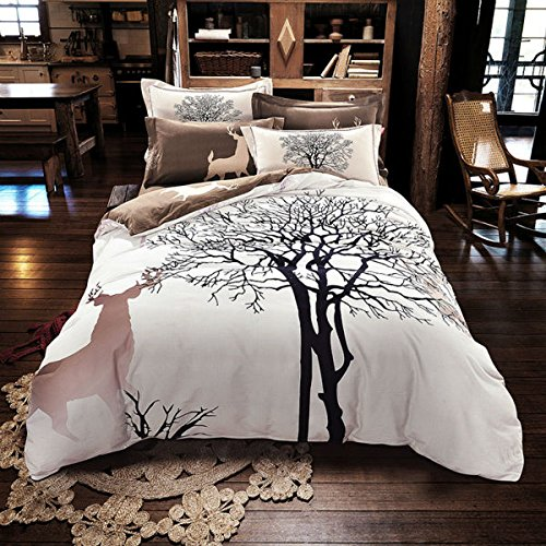 Svetanya - Tree Deer Printed Pattern - Quilt Cover Bedding Sets (Quilt Cover+ Bedsheet+ Pillowcases) 4pcs - 800TC 100% Sanded Cotton Fabric Queen (Deer Bed Set)