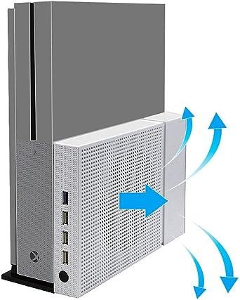CestMall Xbox One S Ventilador de soporte vertical y 4 puertos USB ...