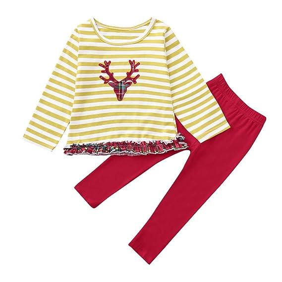 K-youth Conjunto de Ropa para Niñas Navidad Raya Ropa Bebe Niña Invierno  Camiseta de c95ae0c6a9f
