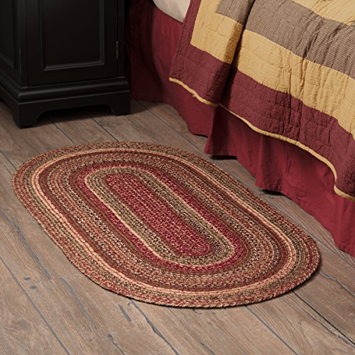 VHC Brands 45594 Burgundy Red Primitive Country Flooring Cider Mill Jute Rug, 27x48 ()