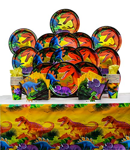 B-THERE Dinosaur Party Supplies for 16 Guests Prehistoric Dino Birthday Decorations -