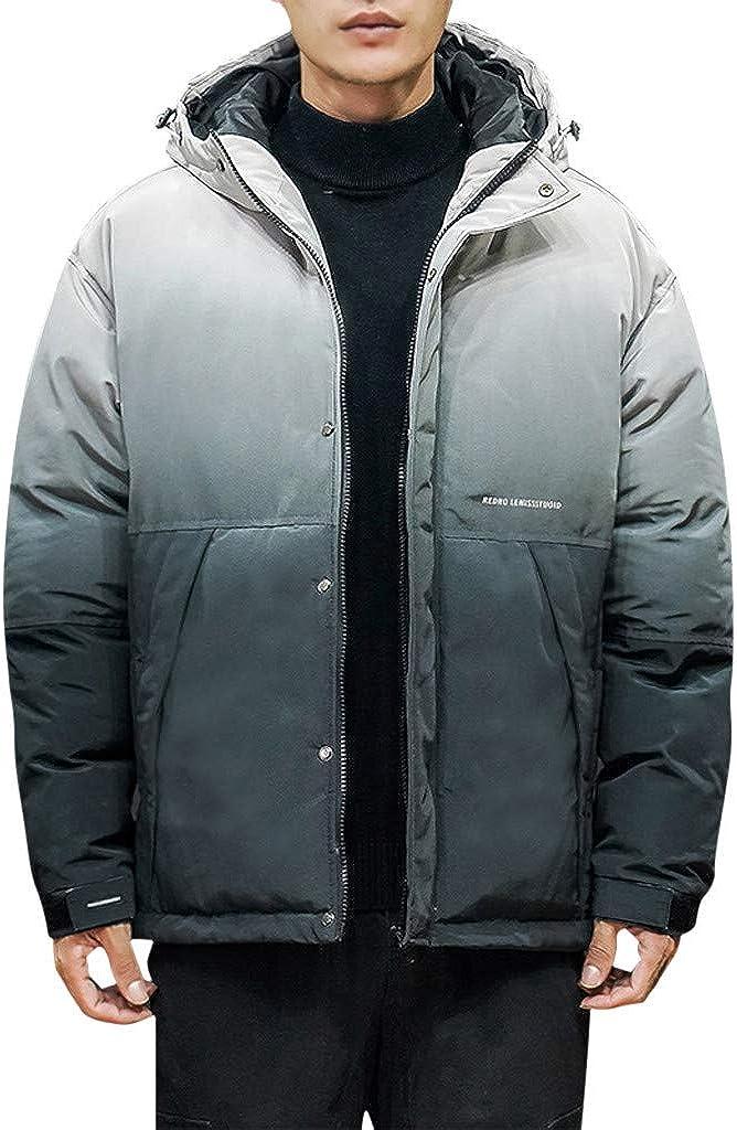 JiaMeng-ZI Ropa para Hombre Degradado de Color Espesar Fabric Chaqueta Plumas Otoño Invierno Mantener Caliente Abrigo de Manga Larga al Aire Libre Alpinismo Outwear Casual Jacket Ropa de Moda