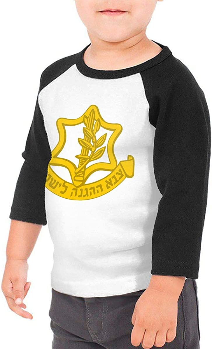 The IDF Logo Kids Jersey Raglan T-Shirt Children 3//4 Sleeve Baseball Shirt Top