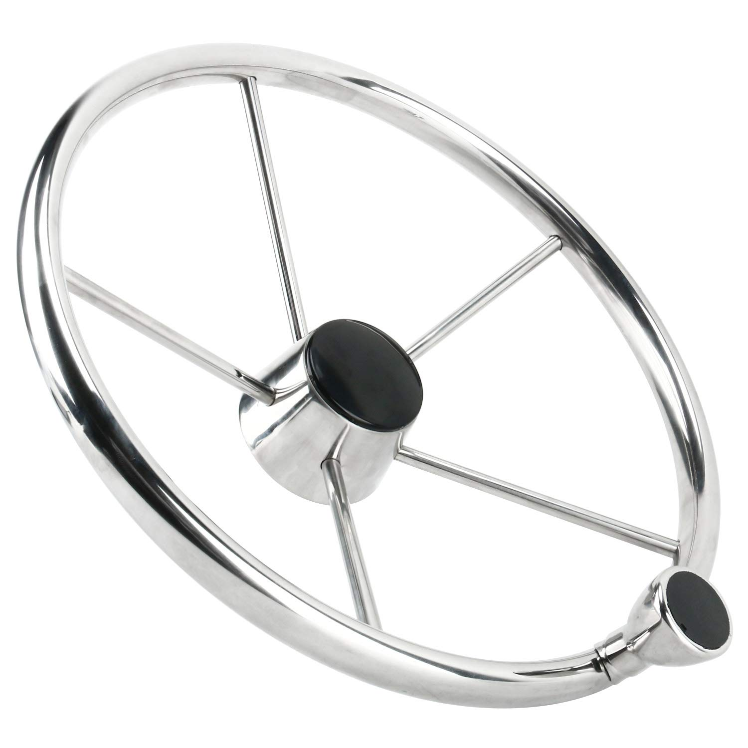 Amarine Made 5 Spoke 25 Deg Stainless Steel Boat Steering Wheel with Control Knob,Fits 3/4'' Shaft for Marine Boat (Dia. 15-1/2 Inch) by Amarine Made