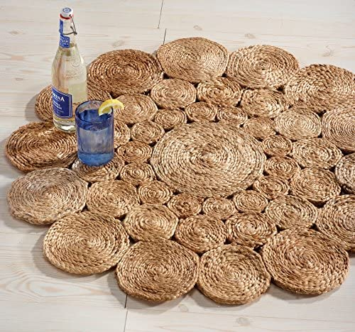 HF by LT Boho Market Avery Crochet Round Jute Rug, 5 , Durable and Sustainable Handwoven Jute, Reversible, Beige, 3 Styles Available