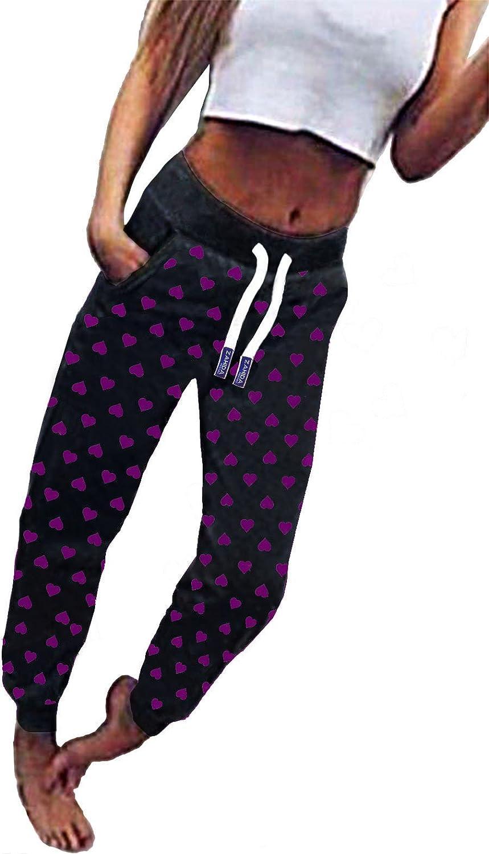 ZAHIDA Damen Hose Jogginghose Trainingshose Fitnesshose Schlafhose Schlafanzug-Hose Herz Fitness Joggen Sweatpants No-Name