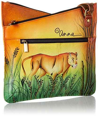 Women'S V Anna in Crossbody Leather Top Hand Lion Painted Anuschka Multicompartment Love WBIqnCXX