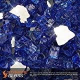 Starfire Glass® 10-Pound Fire Glass with Fireplace Glass and Fire Pit Glass, 1/2-Inch, Cobalt Blue (Reflective Supreme)