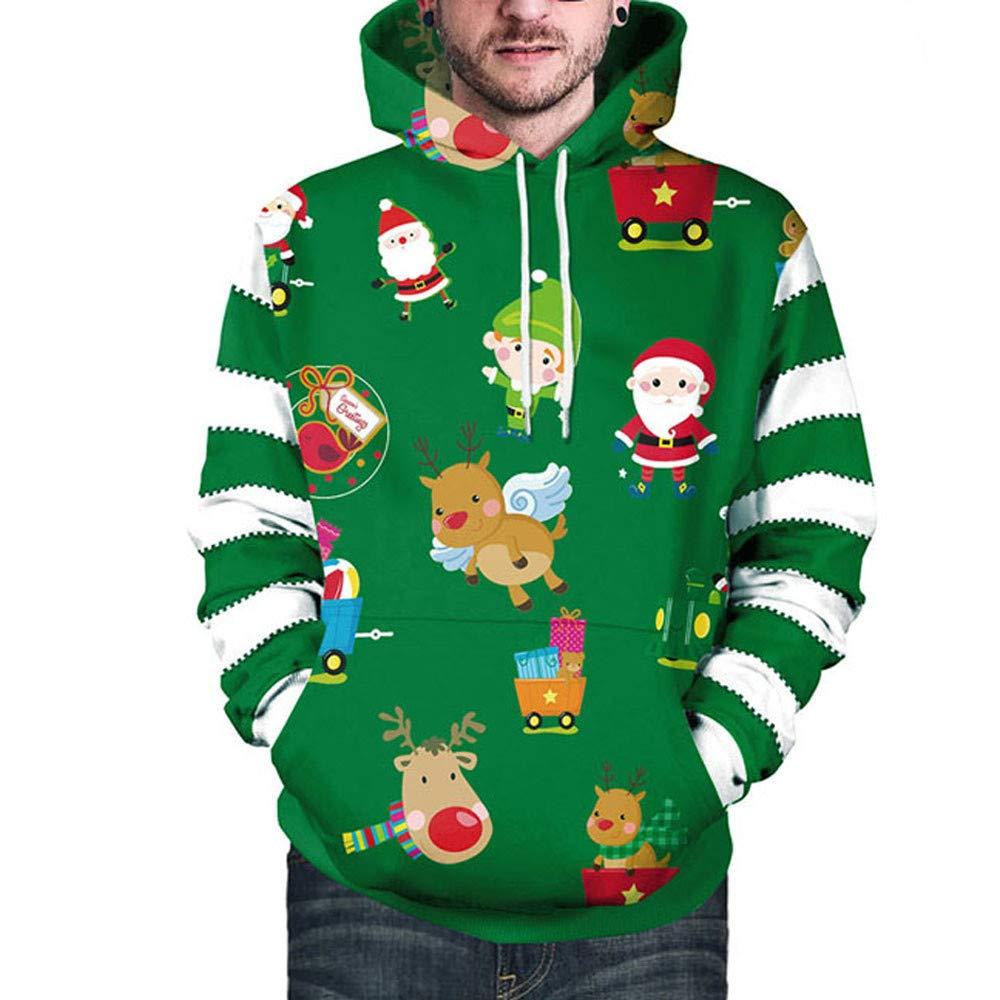 e0a214006c4136 BETTERUU Lovers Christmas Santa Claus Elk Print Long Sleeves Caps Tops  Sweatshirts at Amazon Women s Clothing store