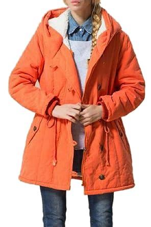 ac5fab05b35 CBTLVSN Women s Plus-Size Wool Lined Winter Hood Peacoat Jackets Coat ...