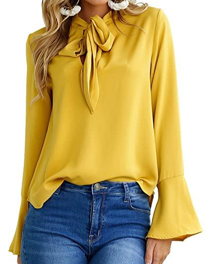 Mujer Camiseta Blusa Mangas Largas Elegante Cuello Redondo Entallada Casual Amarillo S