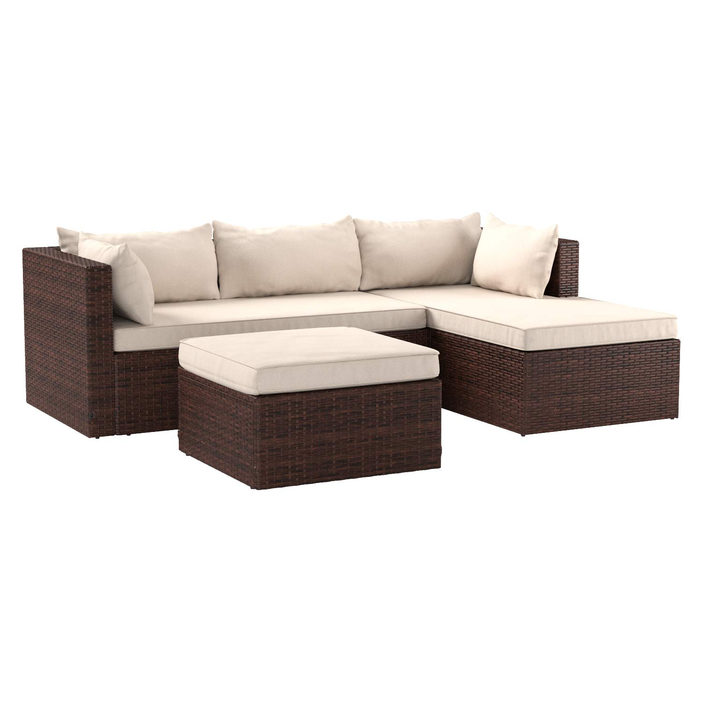 AmazonBasics 3 Piece Patio PE Wicker Rattan Corner Sofa Set by AmazonBasics