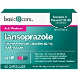 Basic Care Lansoprazole Delayed-Release Capsules Acid Reducer, 42 Count