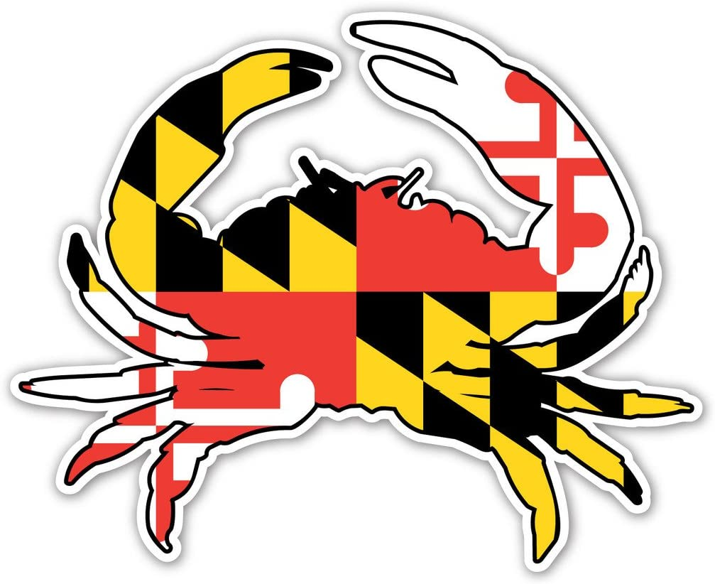 Maryland Crab State Flag Bumper Sticker Decal 4x5 in