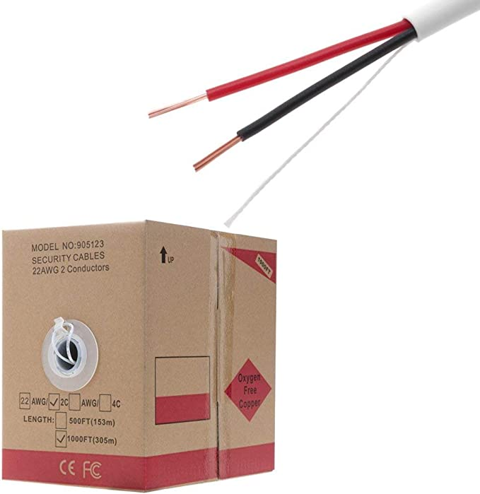 22//2 Security Alarm Wire Cable Stranded Shielded 2 Conductor 22 AWG CL3R 1000ft