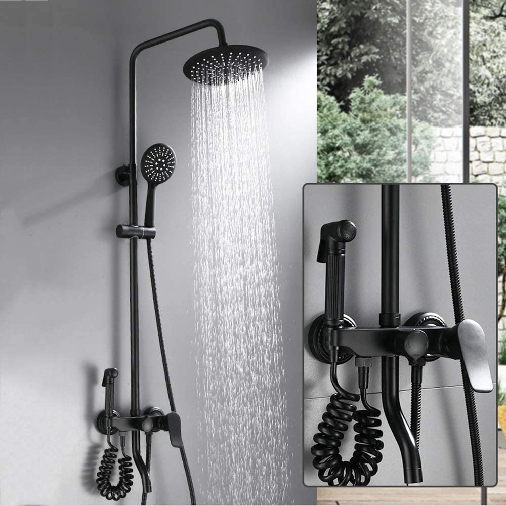 Matte Black Shower Faucet Set with Round Rainfall Shower Head Tub Tap and High Pressure Press Spray Gun,B 3-Setting Hand-held Shower Head Set