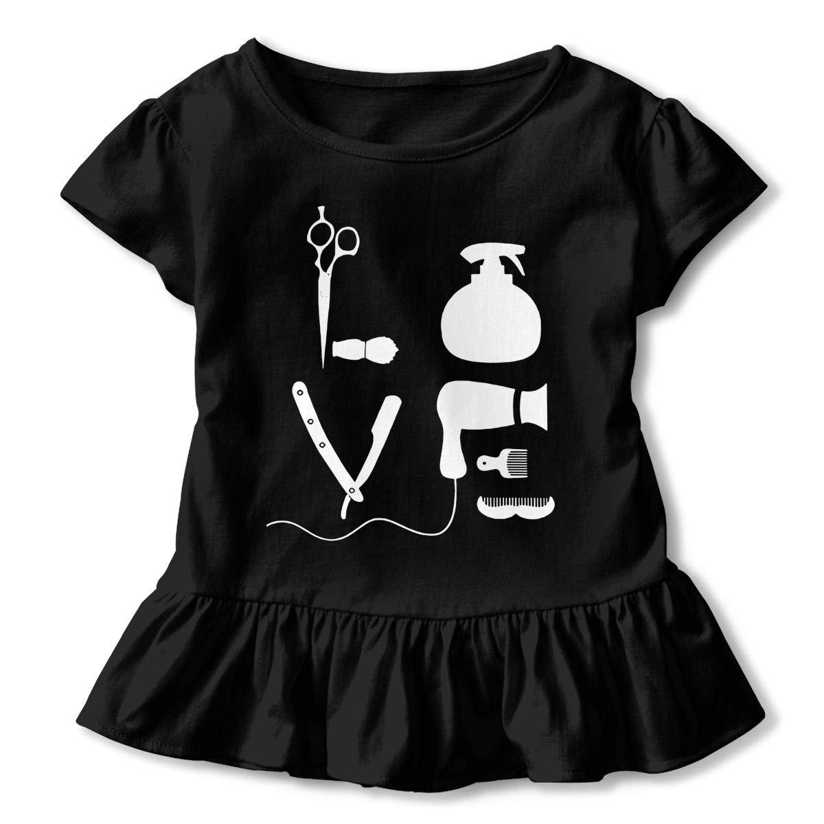 Barber Salon Hairdresser Love Childrens Girls Short Sleeve T Shirts Ruffles Shirt T-Shirt for 2-6T