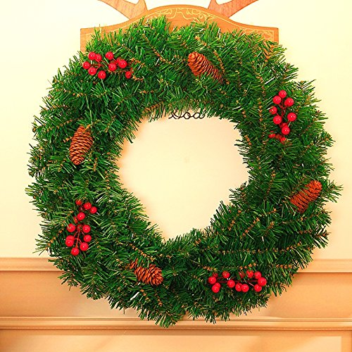 Christmas Garland for Stairs fireplaces Christmas Garland Decoration Xmas Festive Wreath Garland with Christmas wreath,40cm pine wreath by Caribou Furniture And Decor