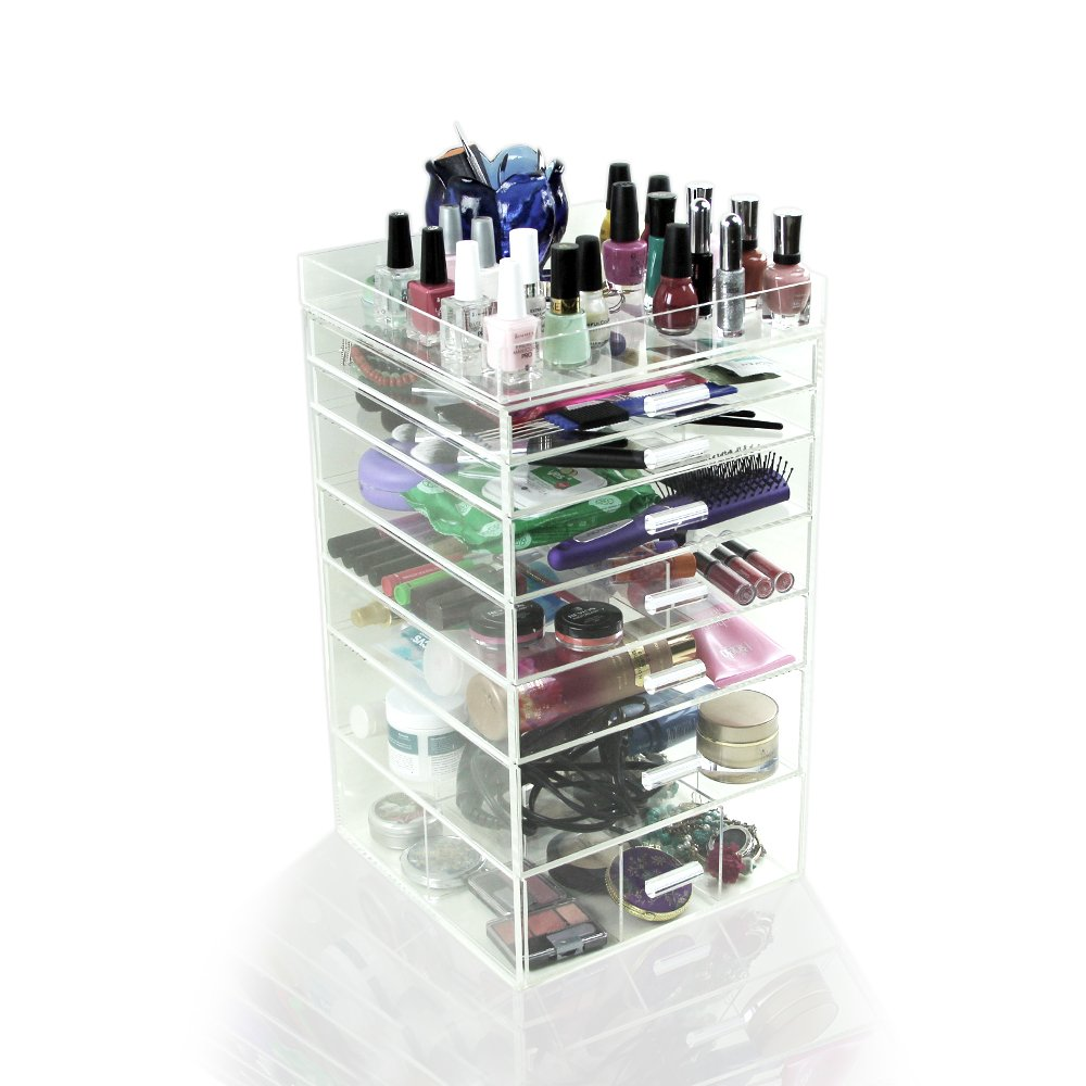 acrylic clear cube makeup organizer makeup vidalondon. Black Bedroom Furniture Sets. Home Design Ideas