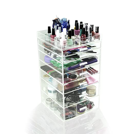 Houseables Acrylic Makeup Organizer, 7 Drawers, Clear, Cosmetic Cube Case, Box w/ Dividers & Top Tray