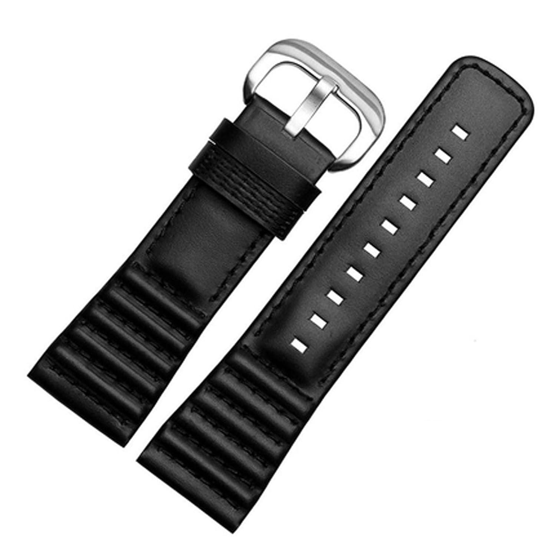 28 mmブラックレザー時計ストラップバンドバックルのSevenFriday p1 p2 p3 Watches (ブラック)ステンレスバックル  B0788HB4NZ
