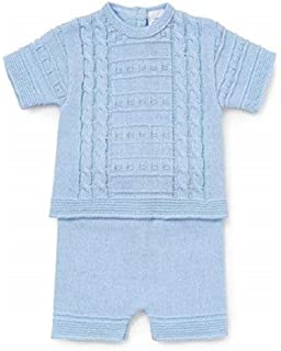 366e9770e Zip Zap Romany Spanish Cotton Knitted Baby Boys 3 Piece Set In Sky ...